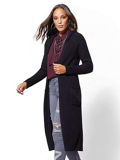 Hooded Ribbed-Knit Duster Cardigan - New York & Company