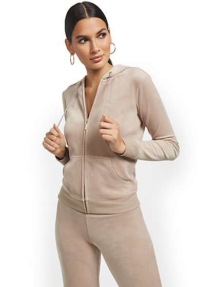 Hooded Velour Zip-Front Jacket - Dreamy Velour Collection - New York & Company