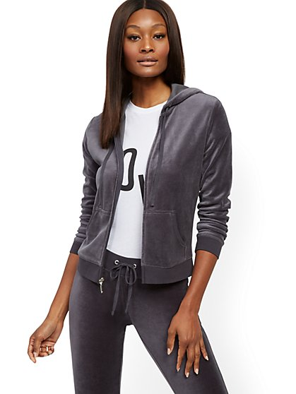 Hooded Velour Zip-Front Jacket - New York & Company