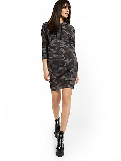 Hoodie Camo-Print Sweatshirt Dress - New York & Company