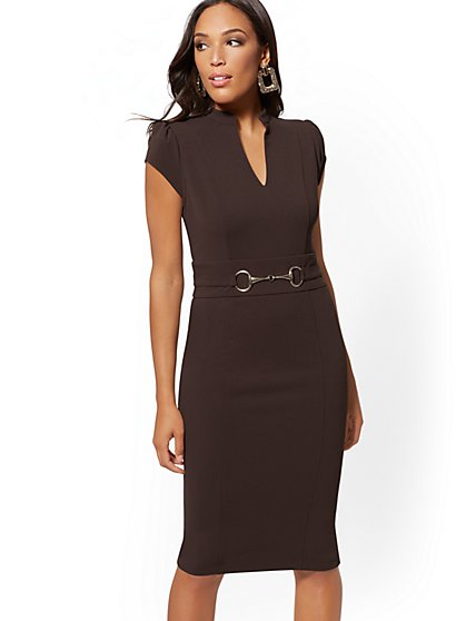 Horsebit-Accent Sheath Dress - Magic Crepe - 7th Avenue - New York & Company