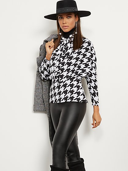 Houndstooth Bow Blouse - 7th Avenue - New York & Company