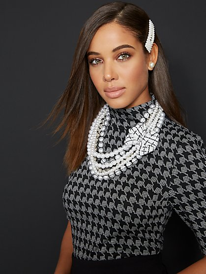 Houndstooth Mock-Neck Elbow-Sleeve Top - 7th Avenue - New York & Company