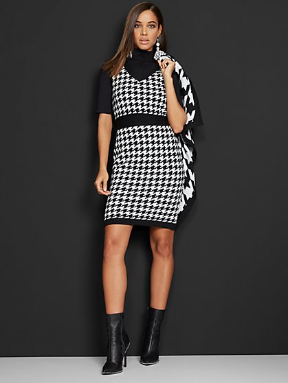 Houndstooth-Print Sweater Sheath Dress - 7th Avenue - New York & Company