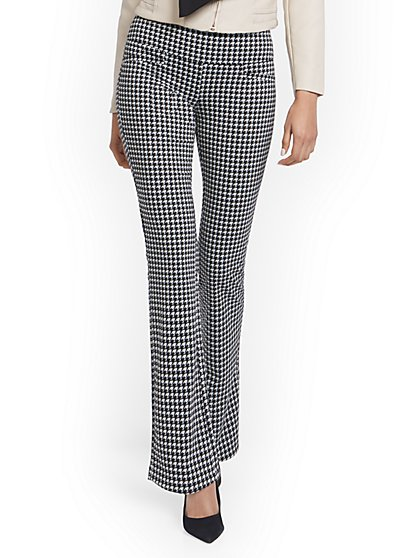 Houndstooth Pull-On Bootcut Ponte Knit Pant - Superflex - New York & Company