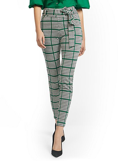 Houndstooth Pull-On Slim-Leg Pant - Superflex - New York & Company