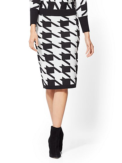 Houndstooth Sweater Skirt - New York & Company
