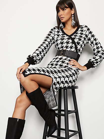 Houndstooth Wrap Sweater - 7th Avenue - New York & Company