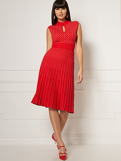 Hutton Mock-Neck Sweater Flare Dress - Eva Mendes Collection - New York & Company