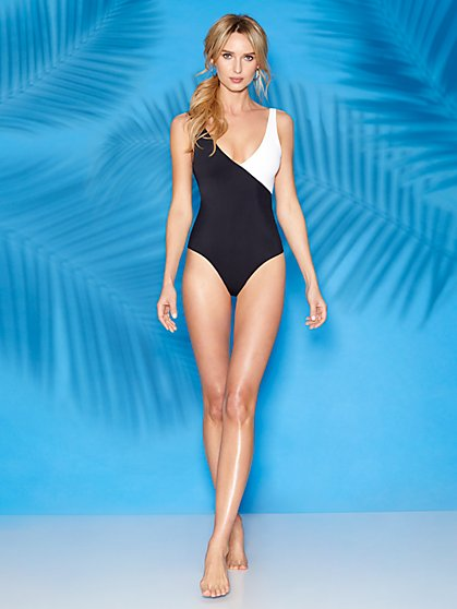 Ilana Black V-Neck One-Piece Swimsuit - Sweet Pea Swimwear - New York & Company