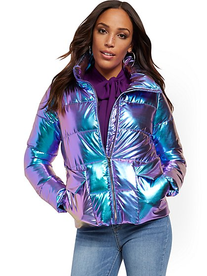 Iridescent Puffer Jacket - New York & Company
