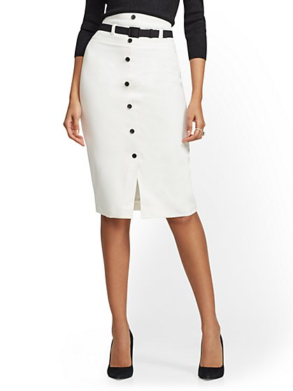 Ivory Button-Front Pencil Skirt - New York & Company