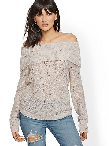 Ivory Cable-Knit Off-The-Shoulder Sweater - New York & Company