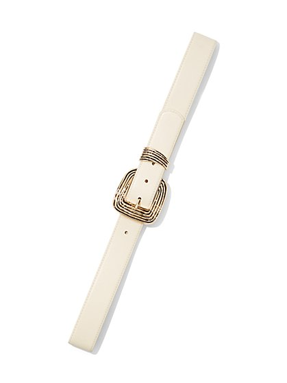 Ivory Faux-Leather Belt - New York & Company