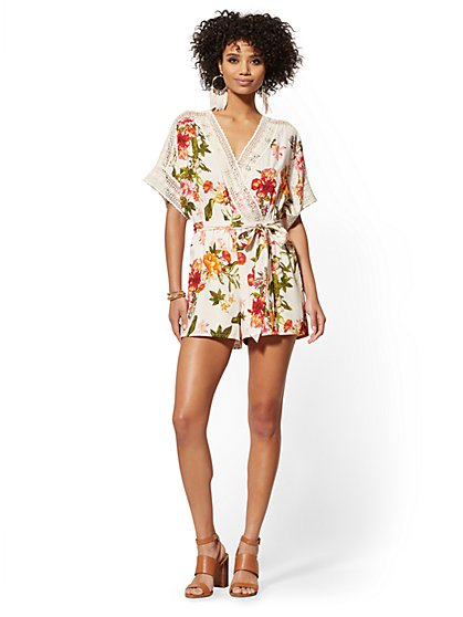 Ivory Floral Crochet-Trim Wrap Romper - New York & Company