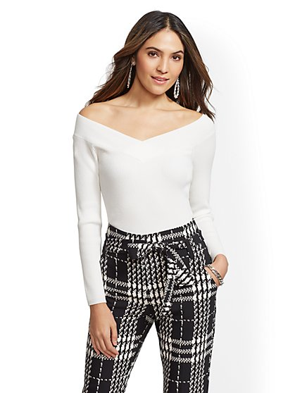 Ivory Off-The-Shoulder Sweater - New York & Company
