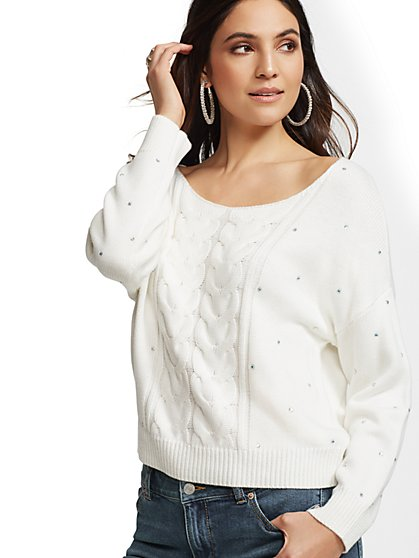 Ivory Rhinestone V-Neck Sweater - New York & Company