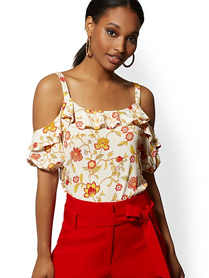 Ivory Ruffled Cold-Shoulder Top - New York & Company