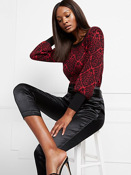 Jacquard Puff-Sleeve Sweater - New York & Company