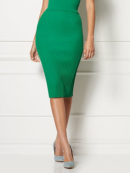 Jacqui Pleated Sweater Skirt - Eva Mendes Collection - New York & Company