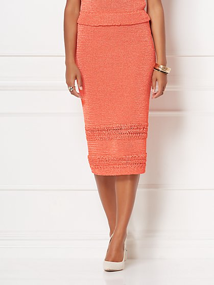 Jessie Crochet Sweater Skirt - Eva Mendes Collection - New York & Company