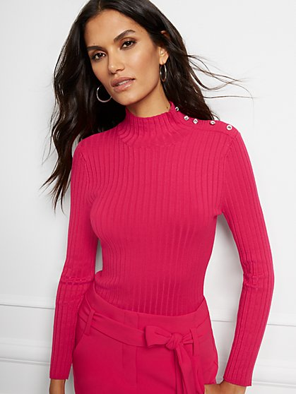Jeweled Button Mock-Neck Sweater - New York & Company