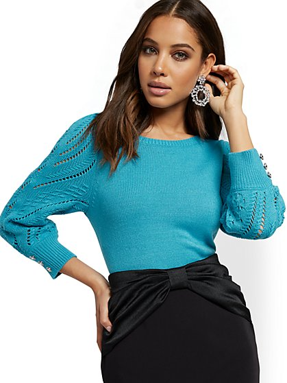 Jeweled-Button Open-Stitch Sweater - New York & Company