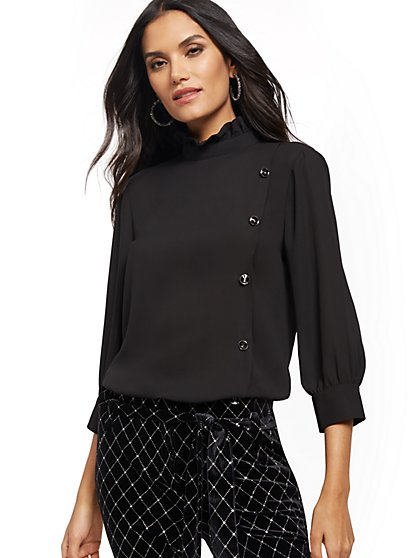 Jeweled-Button Ruffled Blouse - New York & Company