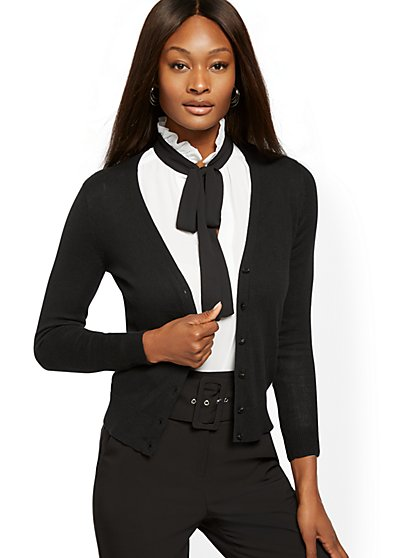 Jeweled-Button V-Neck Chelsea Cardigan - 7th Avenue - New York & Company