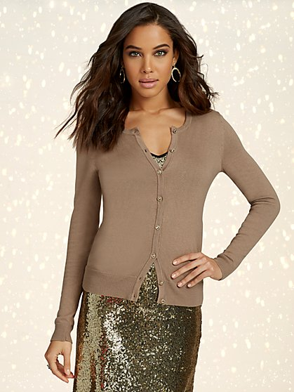Jeweled Crewneck Chelsea Cardigan - 7th Avenue - New York & Company
