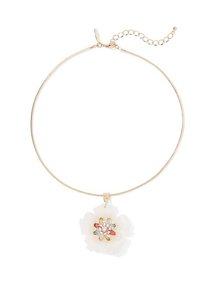Jeweled Floral Pendant Collar Necklace - New York & Company