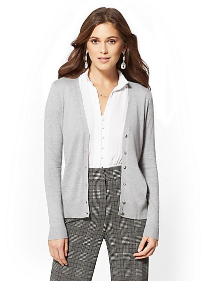 Jeweled V-Neck Chelsea Cardigan - 7th Avenue - New York & Company