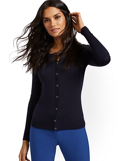 Jeweltone-Button Chelsea Crewneck Cardigan - New York & Company