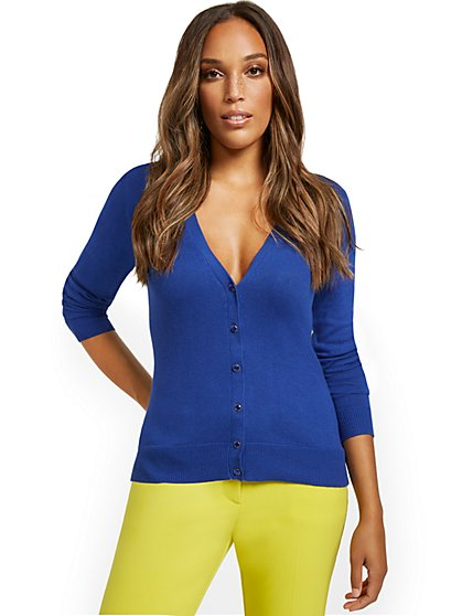 Jeweltone-Button Chelsea V-Neck Cardigan - New York & Company