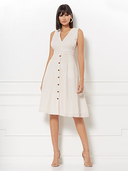 Justina Stripe Linen Flare Dress - Eva Mendes Collection - New York & Company