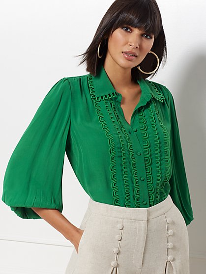 Kelsey Balloon-Sleeve Blouse - Eva Mendes Collection - New York & Company