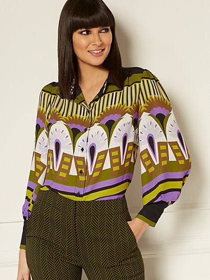 Kelsey Graphic-Print Blouse - Eva Mendes Collection - New York & Company