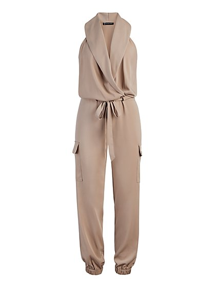 Khaki Cargo Jumpsuit - New York & Company