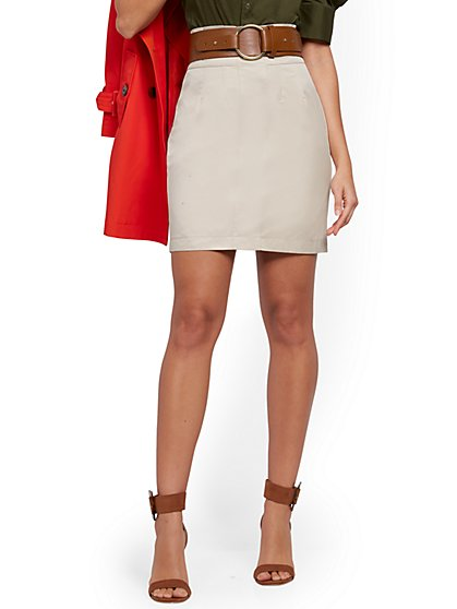Khaki Paperbag-Waist Mini Skirt - New York & Company