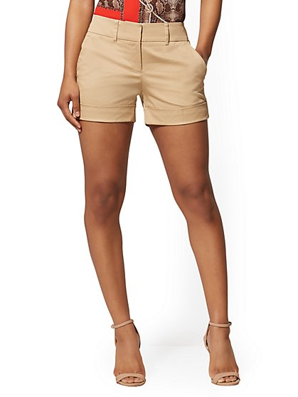 Khaki Structured 4 Inch Short - 7th Avenue - New York & Company