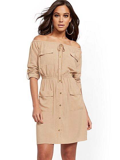 Khaki Utility Shirtdress - New York & Company
