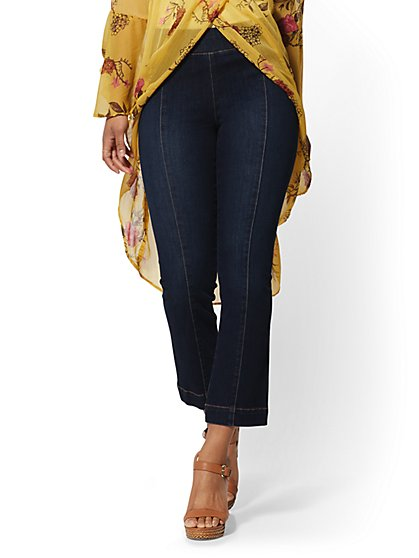 Kick Flare Crop Pull-On Jeans - Dark Blue - New York & Company
