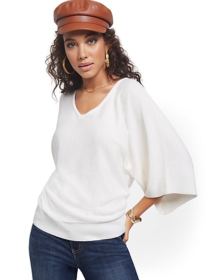 Kimono Sleeve V-Neck Sweater - New York & Company