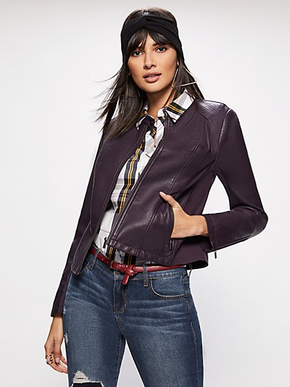Knit-Inset Banded Collar Moto Jacket - New York & Company
