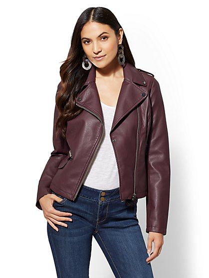 Knit-Inset Faux Leather Moto Jacket - New York & Company