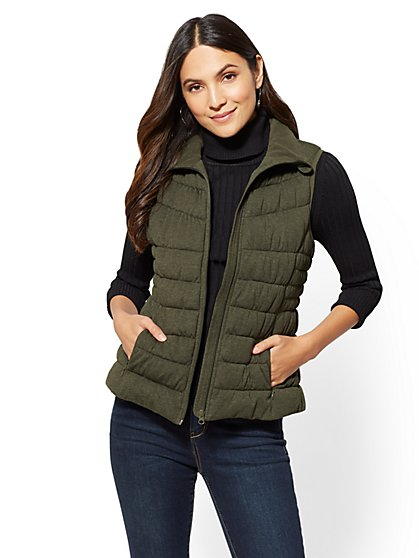 Knit Puffer Vest - New York & Company