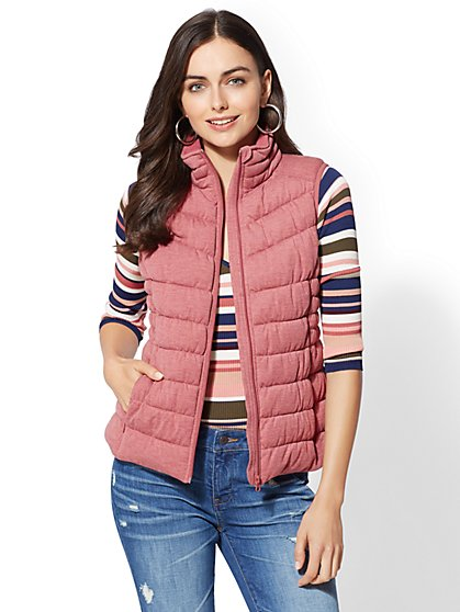 Knit Quilted Vest - New York & Company