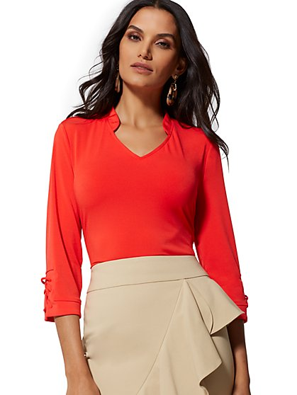 Knit V-Neck Lace-Up Top - 7th Avenue - New York & Company