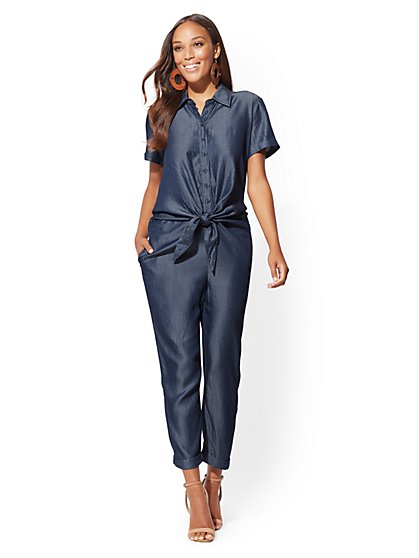 Knot-Detail Short-Sleeve Jumpsuit - New York & Company