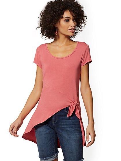 Knot-Front Hi-Lo Top - Soho Soft Tee - New York & Company